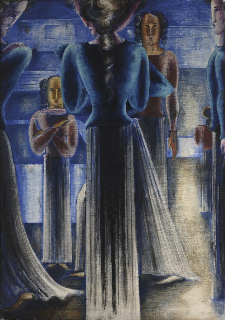 Oskar Schlemmer: Group of blue women (Blaue Frauengruppe), 1931, …oil and tempera on canvas, 162,5 x 114 cm, Saarlandmuseum, Saarbrücken