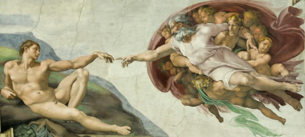 The Creation of Adam, Michelangelo, photo by Sebastian Bergmann on Flickr, CC-BY-SA