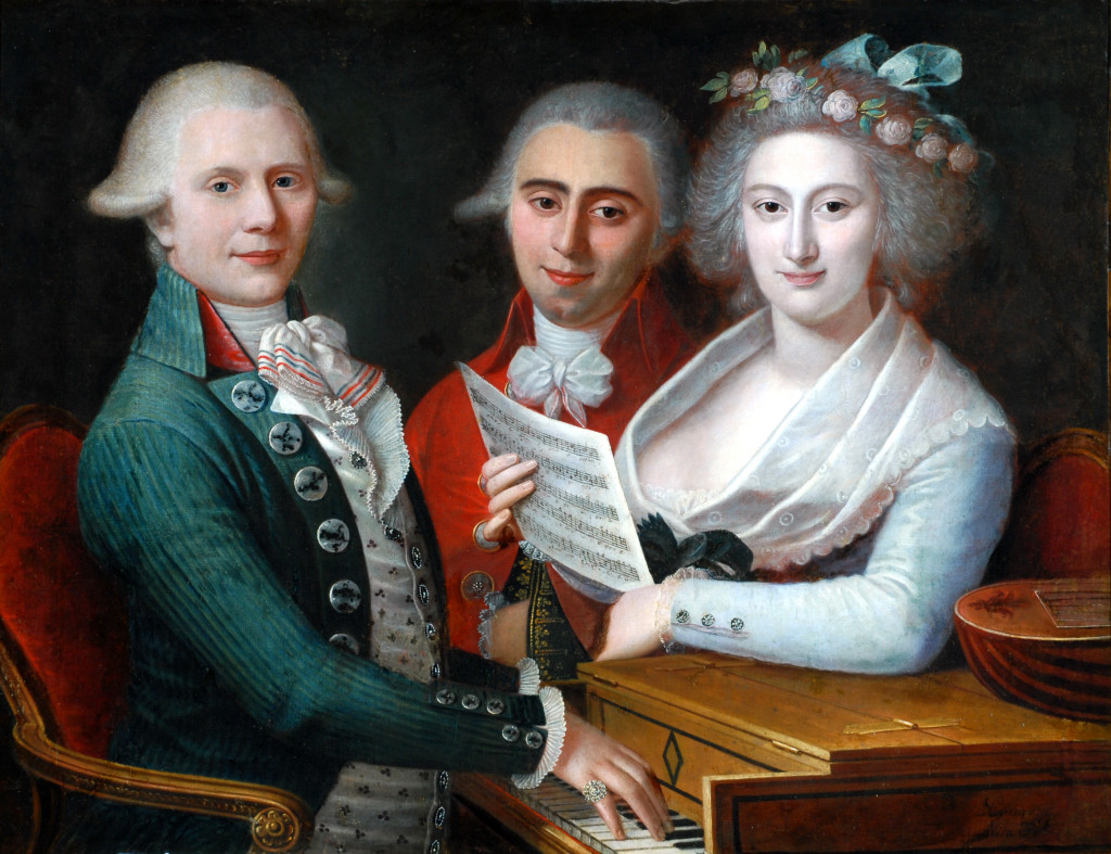 Painting of a man seated a piano, his hands on the keys. Next to him stands a man in a red coat and a woman holding some sheet music. All three are looking straight at the viewer