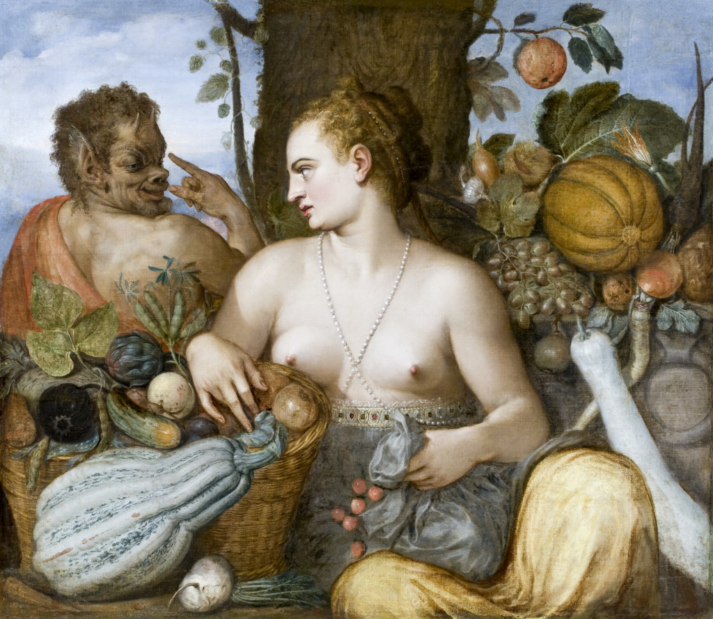 Image showing a bare-chested woman turning to look over her right shoulder to look in disgust at a satyr sitting behind her. She is surrounded with a huge variety of ripe fruit and vegetables