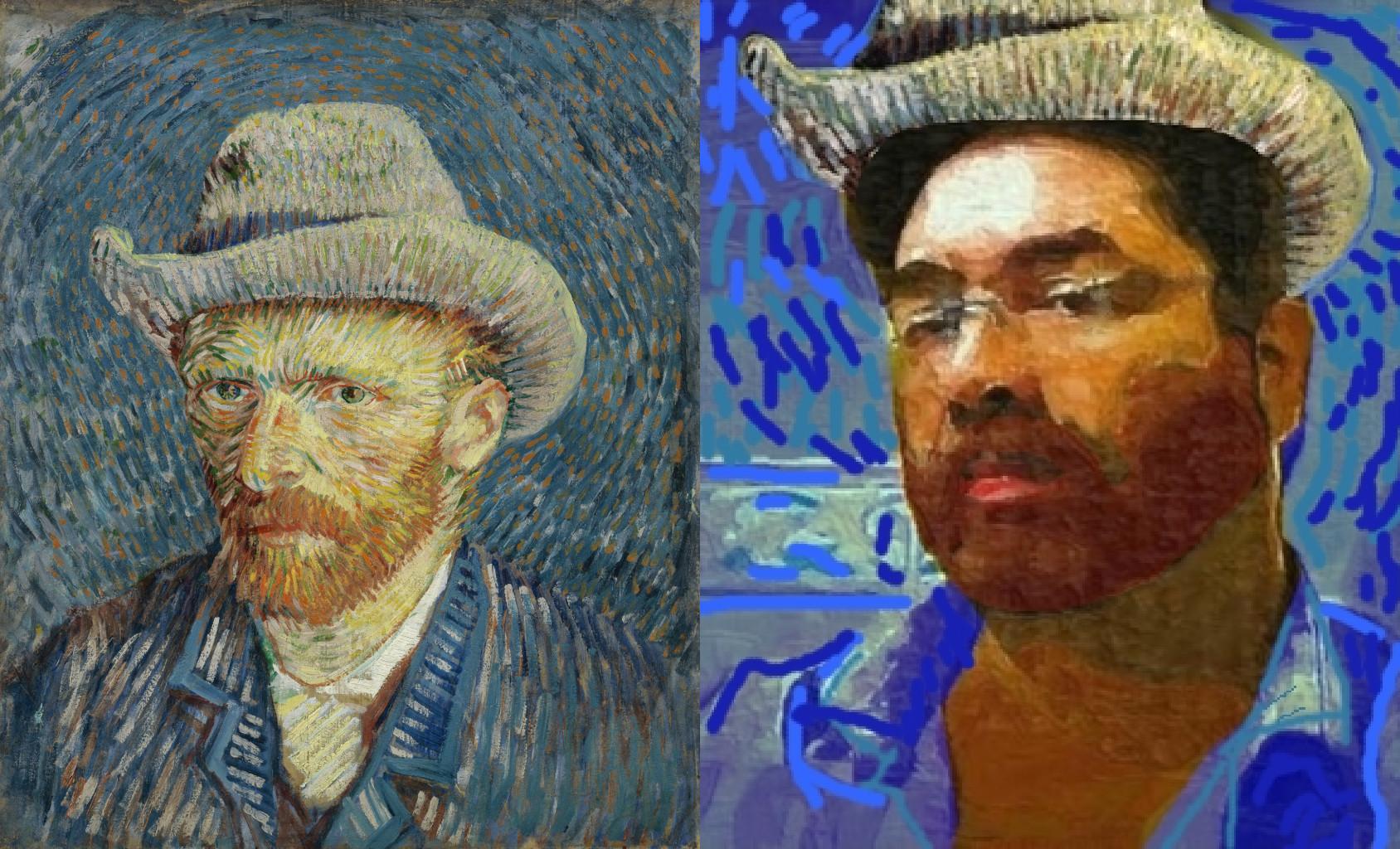 Self-Portrait with Grey Felt Hat, Vincent van Gogh (1853-1890) vanGo'd by David Parr