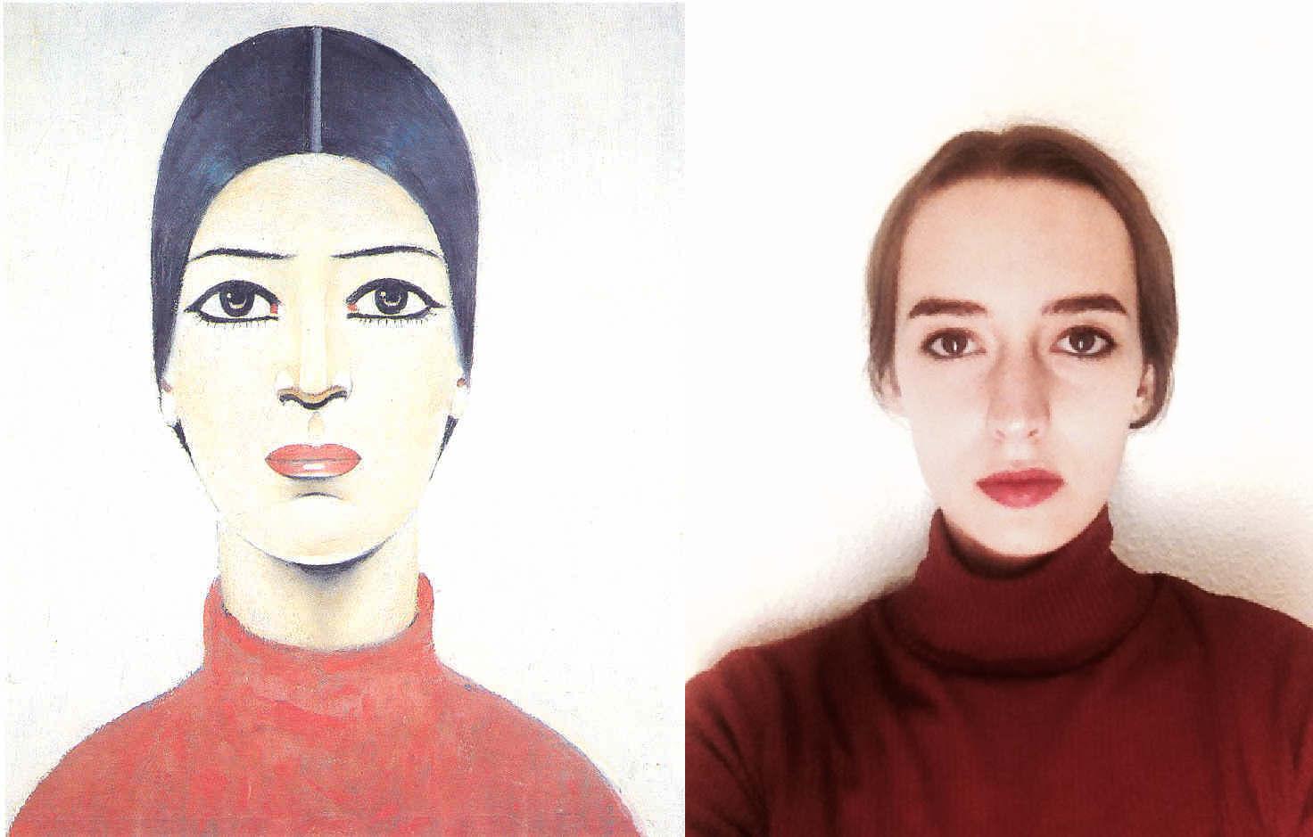 Portrait of Ann, L S Lowry (1887 – 1976)  vanGo'd by Sophie Modos