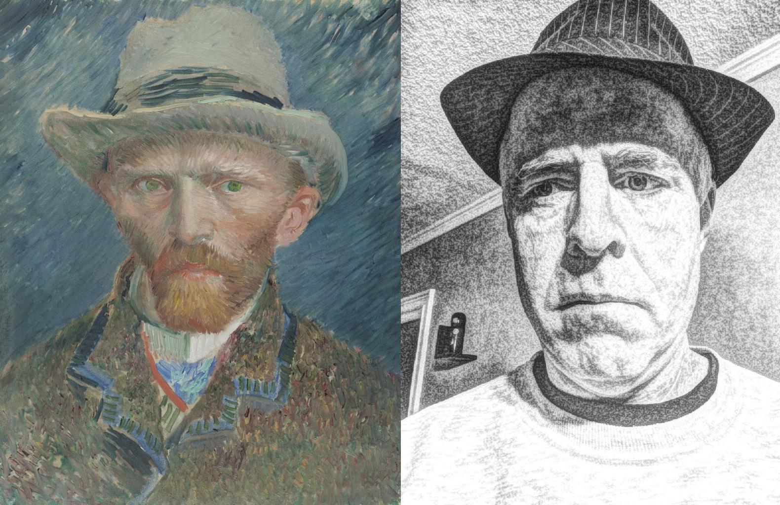 Van Gogh 1887 Self-Portrait, Vincent van Gogh (1853-1890) vanGo'd by Dogtrax