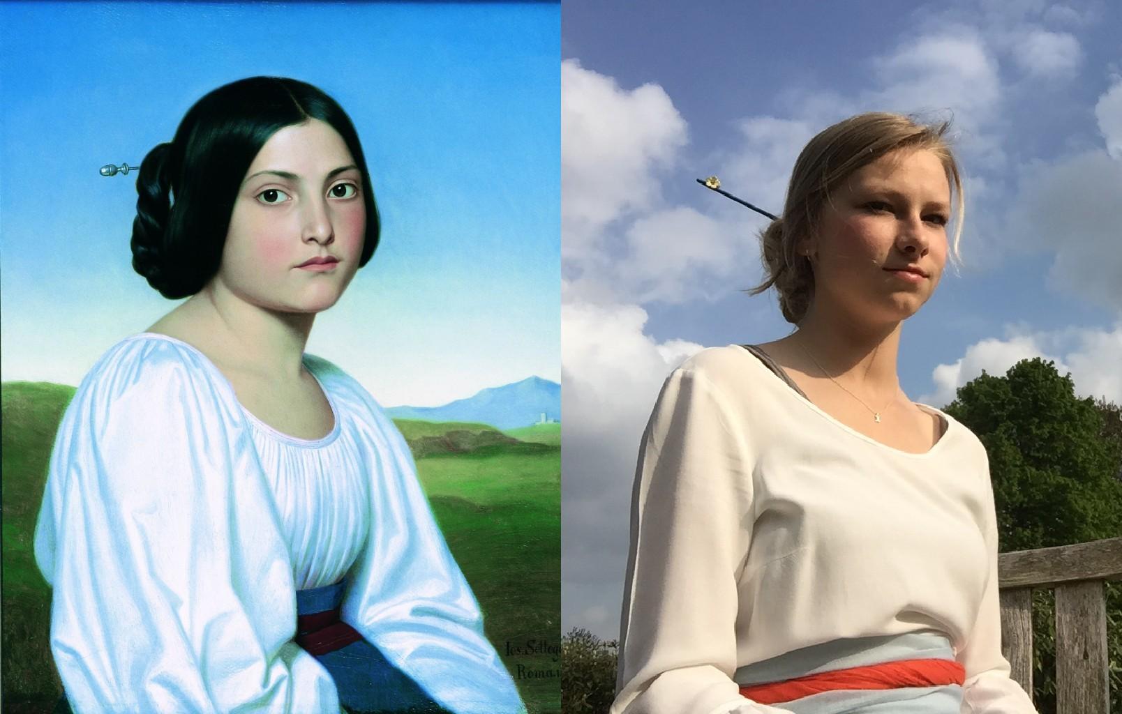 Portrait of a Young Italian Woman, Joseph Anton Nikolaus Settegast (1813–1890)   vanGo'd by Kaat