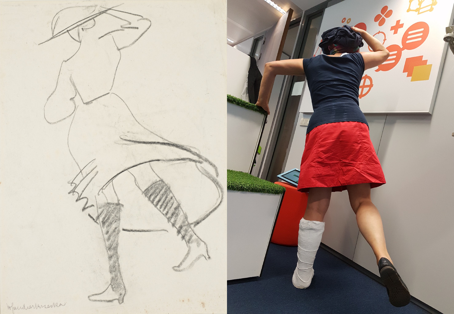 Girl with skirt blowing, Henri Gaudier-Brzeska (1891-1915)  vanGo'd by Antonoi J V